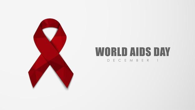 Fondo blanco con una cinta roja para el día mundial del sida