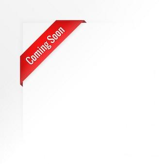 Fondo blanco de cinta roja con texto de proximamente