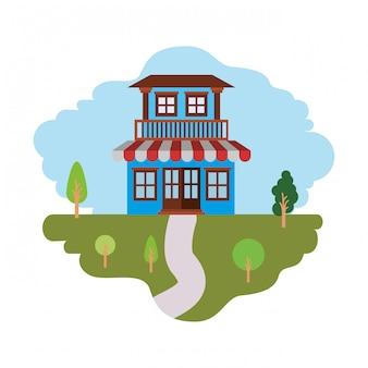 Fondo blanco con colorido escenario de paisaje natural y casa de dos pisos con balcón y toldo.