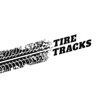 Fondo blanco con la impresión de la pista del neumático