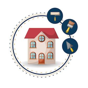Fondo blanco con marco circular de la casa y elementos para la ilustración de vector de pintura
