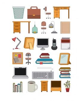 Fondo blanco con conjunto de elementos de oficina color silueta