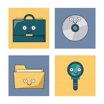 Fondo blanco con conjunto de marcos con iconos de oficina animados