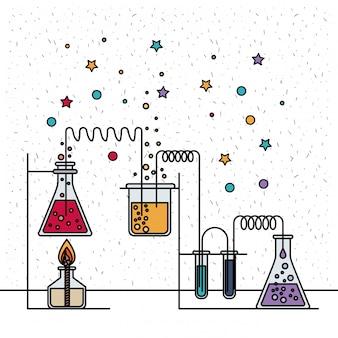 Fondo blanco con destellos y escena de laboratorio químico con un experimento en proceso.
