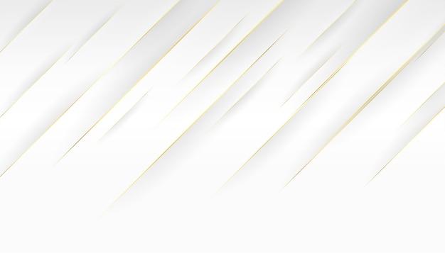 Fondo blanco y diseño de líneas diagonales doradas.