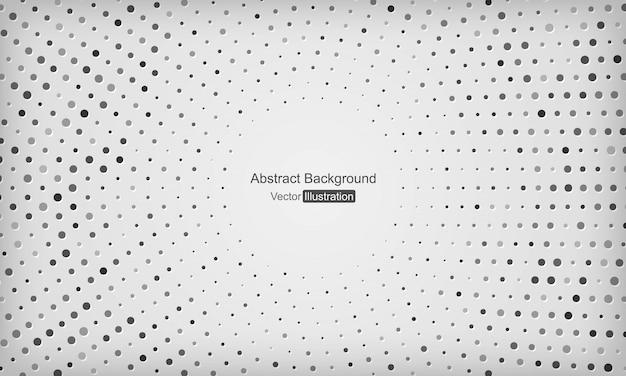 Fondo blanco y gris abstracto con decoración de puntos de semitono de plata radial.