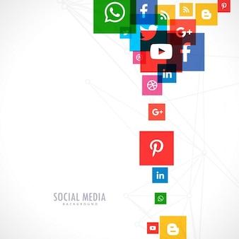 Fondo blanco de iconos coloridos de redes sociales