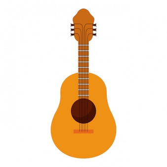 Fondo blanco con ilustración de vector de guitarra acústica