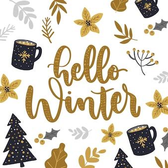 Fondo blanco con letras hola invierno