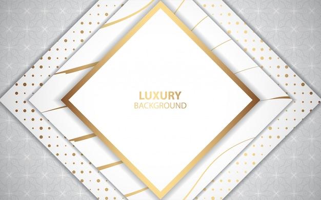 Fondo blanco de lujo con decoración de línea dorada