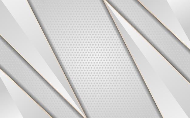 Fondo blanco de lujo con flecha línea blanca oro