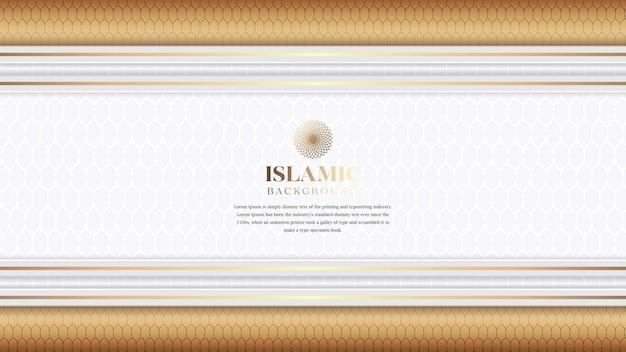 Fondo blanco de lujo islámico árabe con borde dorado y patrón