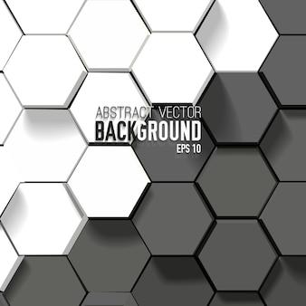 Fondo blanco y negro abstracto con hexágonos geométricos