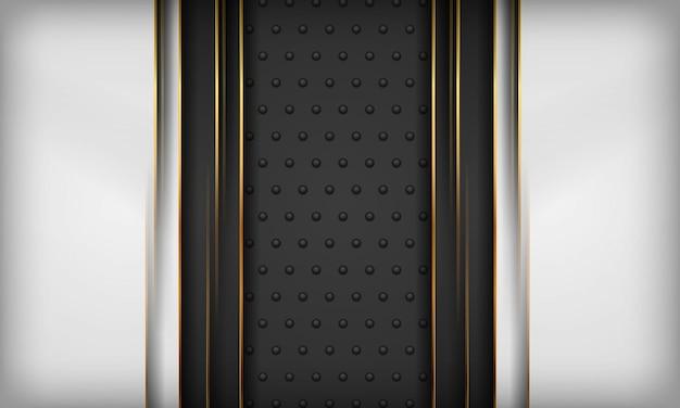 Fondo blanco y negro con elemento de línea dorada en textura de metal oscuro. fondo de lujo moderno.