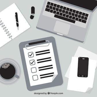 Fondo blanco y negro con lista de verificación y material de oficina