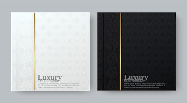 Fondo blanco y negro de lujo con patrón de borde