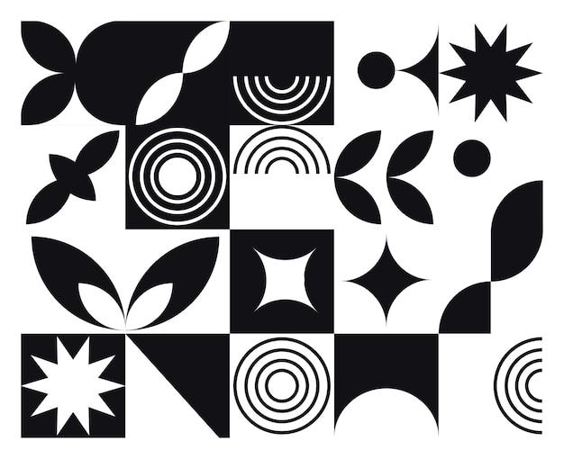 Fondo blanco y negro mural geométrico abstracto en estilo bauhaus Vector Premium