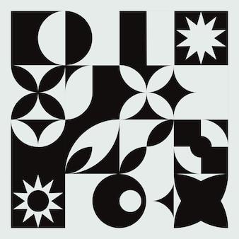 Fondo blanco y negro mural geométrico abstracto en estilo bauhaus