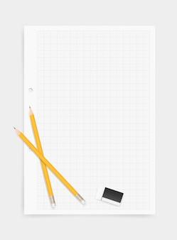 Fondo blanco de papel de dibujo con lápiz y borrador.