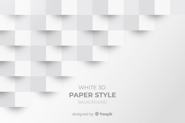 Fondo blanco de papel con figuras en 3d