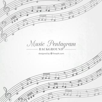 Fondo blanco de pentagramas con notas musicales