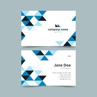 Fondo blanco y plantilla de tarjeta de visita azul degradado