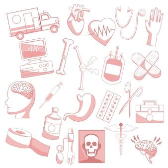 Fondo blanco con secciones de color rojo de elementos de silueta salud