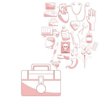 Fondo blanco con secciones de color rojo de primer kit de silueta ayuda con iconos flotantes ilustración de vector de salud