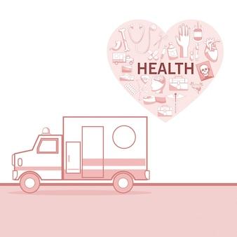 Fondo blanco con secciones de color rojo de silueta ambulancia coche y forma de corazón con elementos de salud