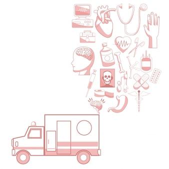 Fondo blanco con secciones de color rojo de silueta ambulancia con elementos de salud