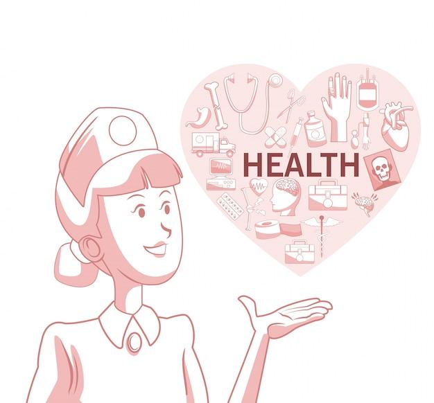 Fondo blanco con secciones de color rojo de silueta enfermera con forma de corazón con elementos de salud