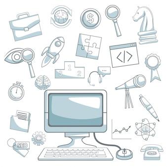 Fondo blanco con secciones de color de silueta sombreado de desarrollo de negocio de computadora de escritorio y los iconos