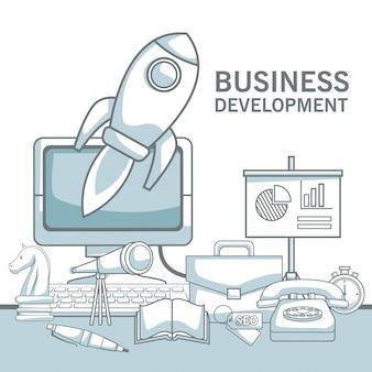 Fondo blanco con secciones de color de silueta sombreado de desarrollo de negocios de elementos de conjunto de primer plano
