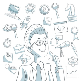 Fondo blanco con secciones de color de silueta sombreado del desarrollo de negocios de hombre ejecutivo y los iconos
