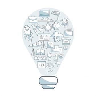 Fondo blanco con secciones de color de silueta sombreado de solución de forma de bombilla con desarrollo de negocios de iconos dentro