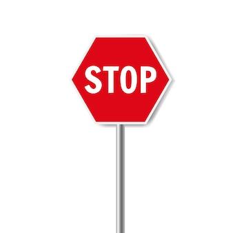 Fondo blanco de señal de stop rojo aislado