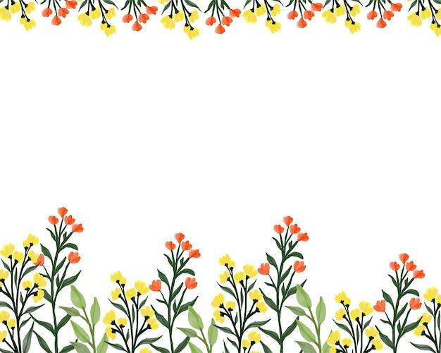 Fondo blanco simple con borde de flores silvestres amarillo y naranja