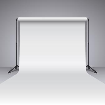 Fondo blanco vacío del estudio de la foto. fotógrafo realista vector estudio telón de fondo