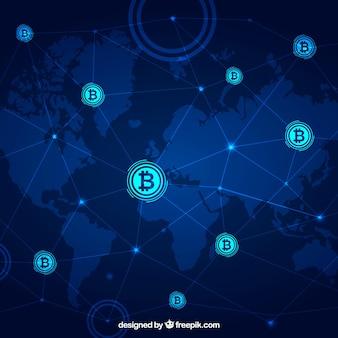 Fondo de blockchain con mapa del mundo