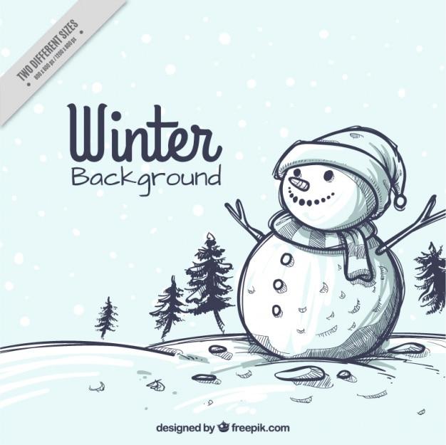 Fondo de boceto navideño de paisaje nevado con muñeco de nieve