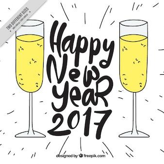 Fondo de bocetos de año nuevo de copas de champán