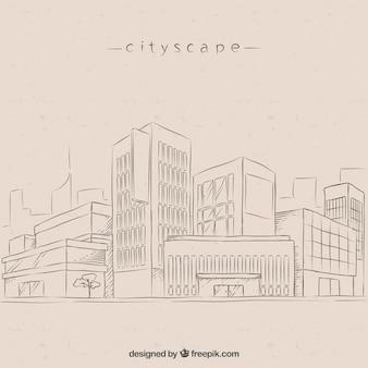 Fondo de bocetos de ciudad moderna