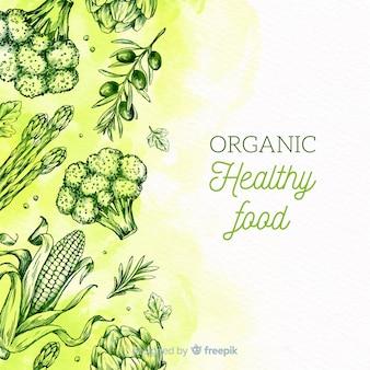 Fondo bocetos comida saludable