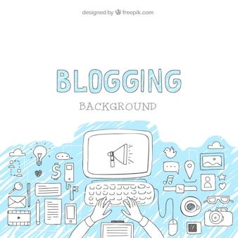 Fondo de bocetos de elementos de blog con ordenador