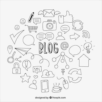 Fondo de bocetos de elementos de blog