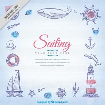 Fondo de bocetos de elementos marineros
