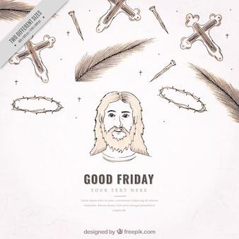 Fondo de bocetos de elementos de viernes santo