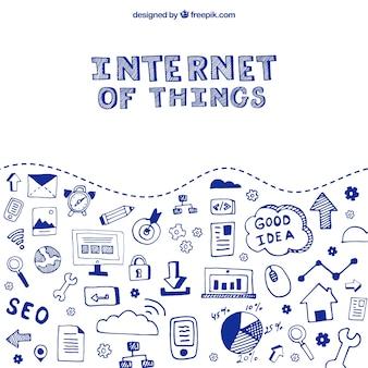 Fondo de bocetos de internet de las cosas