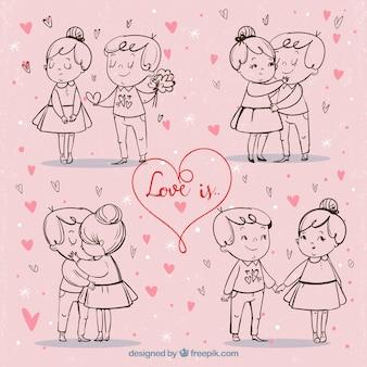 Fondo de bocetos de lindas parejas vintage de san valentín