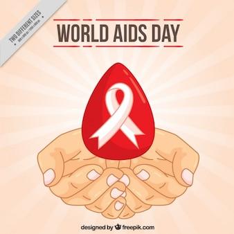 Fondo de bocetos de manos con gota de sangre y cinta del dia mundial del sida